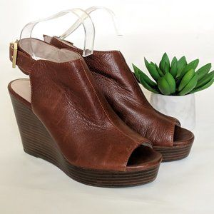 KENNETH COLE Olcott Stacked Heel Leather Wedges